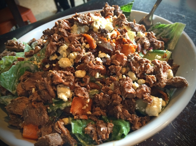 The Chop: Grilled Hanger Steak, Chopped Romaine, Tomato, Cucumber, Bacon, Blue Cheese Vinaigrette