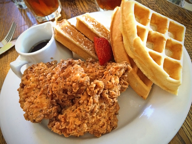 Buttermilk Fried Chicken & Waffles with a Garlic-Bacon Steens' Syrup