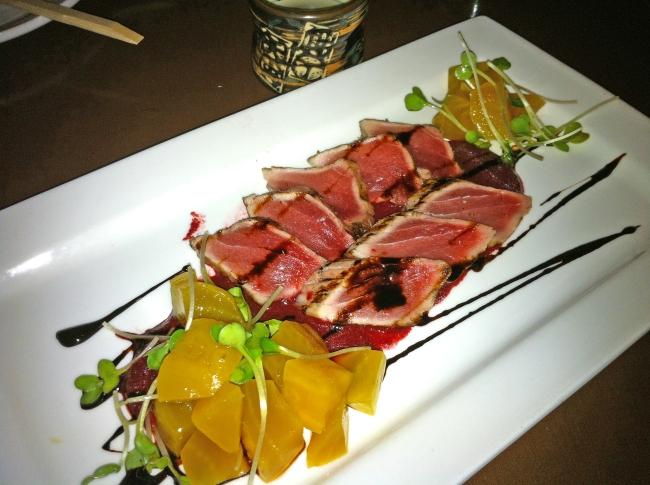 Big-Eye Tuna Tataki seared with Roasted Beet Puree