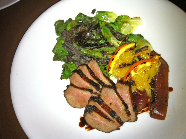 Warm Duck Salad: Soy and Zinfandel Duck, Grilled Green, and Yuzu Vinaigrette