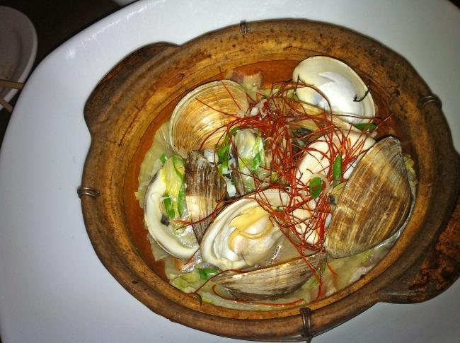 Sake-Steamed Clams, Nappa Cabbage, Bacon, and Tokyo Negi