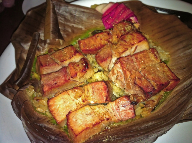 Pork Belly wrapped in Banana Leaf, Rice and Mushrooms