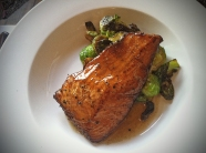 Maple Bourbon Salmon Caramelized Brussels Sprouts