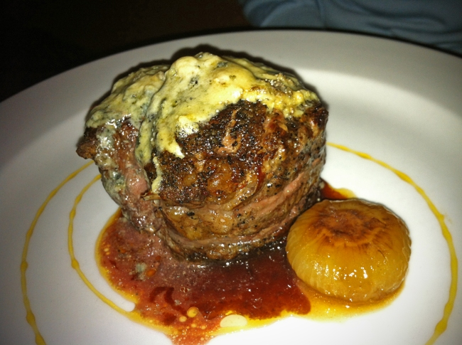 Rib Eye Deckle with Cippolini Onion in Apple Cider and Roaring 40s Blue Cheese
