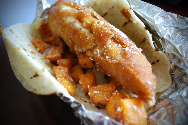 Hotlanta: Waffle-Battered Chicken, Sweet Potato, Honey Butter
