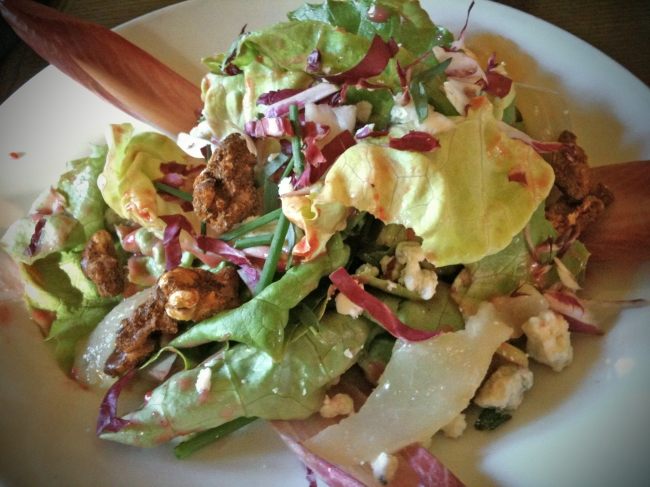 Toulouse Salade: Bibb Lettuce & Endive, Poached Pear, Toasted Walnuts, and Rocquefort Cheese