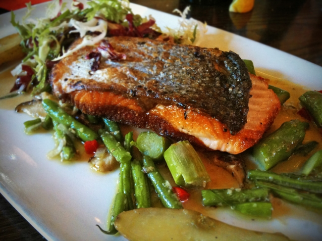 Crispy Scottish Salmon, Roasted Fingerling Potatoes, Haricot Verts, Shiitake Mushrooms, Asparagus & Vermouth-Lemon Beurre Blanc