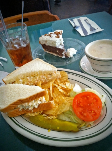 Shrimp Salad on White, Cup of Clam Chowder, and German Chocolate Pie
