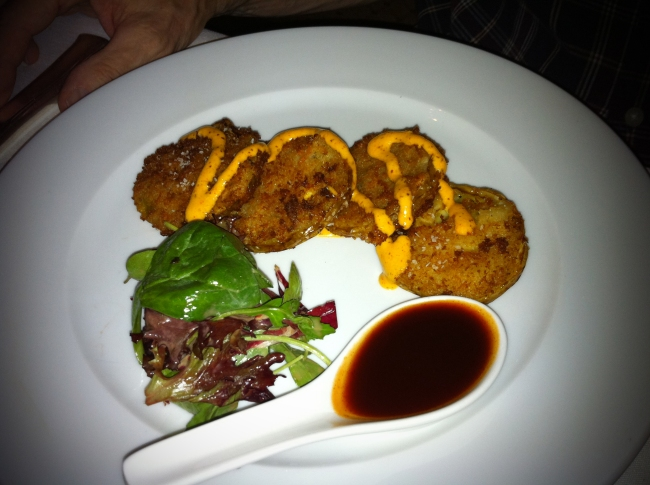 Local Fried Green Tomatoes w/Cotton Row Hot Sauce