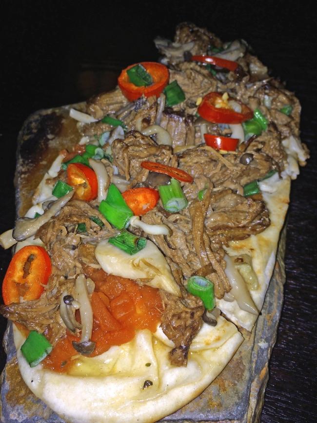 Short Rib Flatbread: foraged mushrooms, fresno chili & garlic confit
