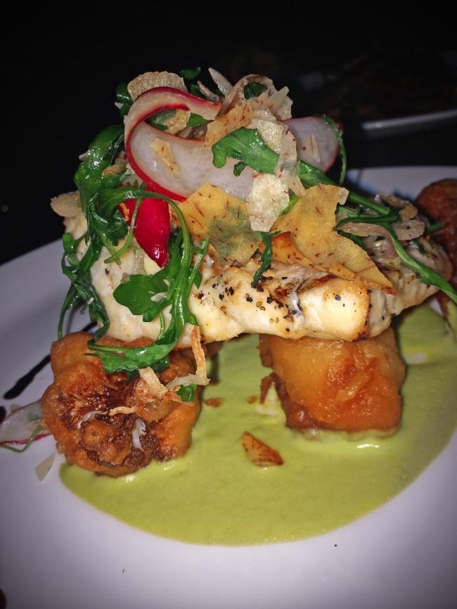 Sturgeon: Grilled with sweet pea purée, tempura cauliflower, radish- arugula salad