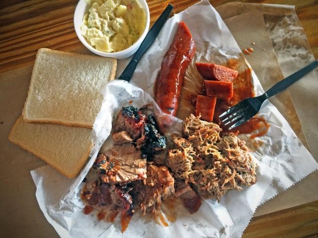 My Lunch: Brisket, Sausage, Pork w/side of Potato Salad