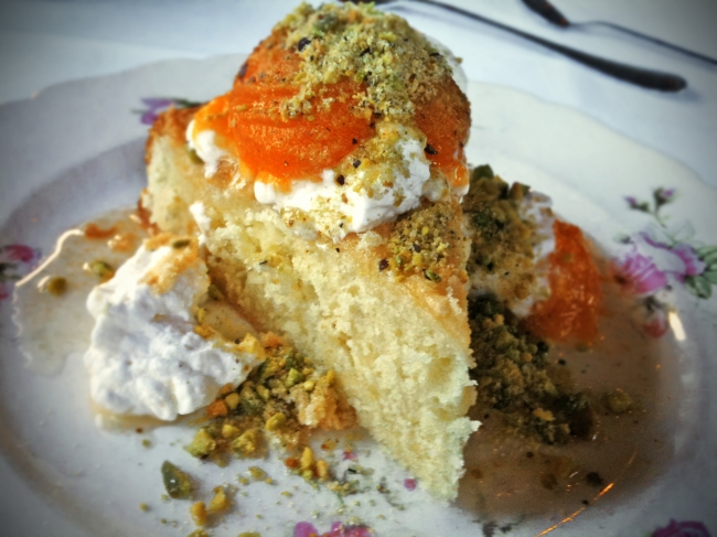 Olive Oil Cake, Vanilla Poached Apricots, Whipped Cream & Pistachios