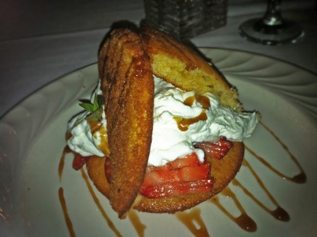 Sweet Cornbread Shortcake, Fresh Strawberries, Sorghum Syrup and Whipped Mint Cream