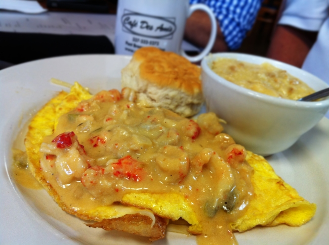 Big Hat: Crawfish Étouffée Omelet w/ Andouille Cheese Grits