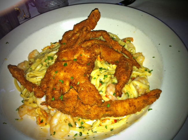 Soft Shell Crab over Shrimp Pasta
