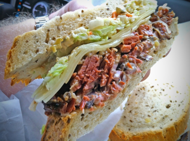 Langer's #19: Hot Pastrami, Russian Dressing, Swiss Cheese, and Cole Slaw on Baked Rye Bread