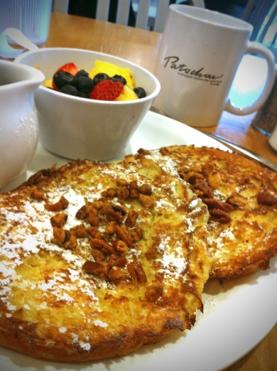 Croissant French Toast, Maple Syrup, and Sugared Pecans