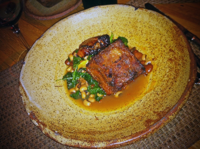 Virginia Heritage Pork w/Pit Cooked Field Peas, Butter Beans, Heirloom Kale and Pot Likker Broth