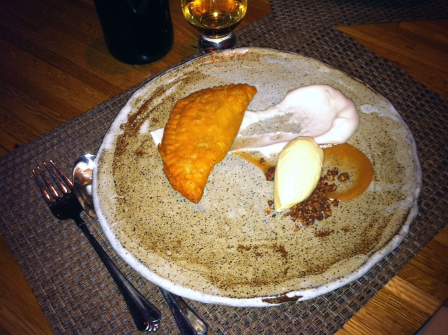 Fried Cameo Apple Pie, Granola, Cinnamon Maple Whip, and Oatmeal Ice Cream