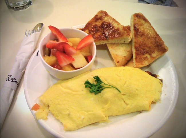 Three Egg omelet, Sour Dough Cinnamon Toast