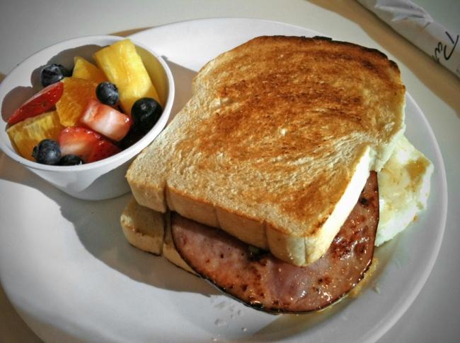 Broken Yolk Sandwich: Two Fried Eggs, Ham, Swiss Cheese, on Sourdough