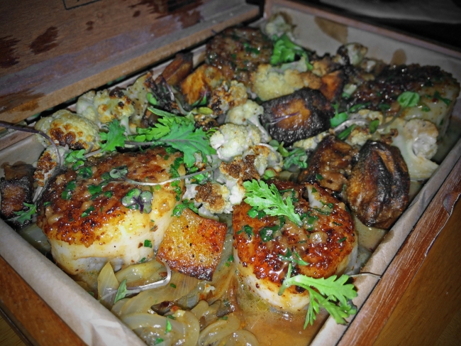 Cohiba Smoked Scallops Chorizo Dust, Caramelized Cauliflower, Pimentón Patatas Bravas, Black Garlic Fennel Choucroute