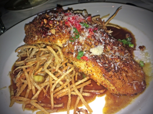 ANDOUILLE CRUSTED DRUM Grilled Local Vegetables, Shoestring Potatoes, Glazed Pecans, Creole Meuniére