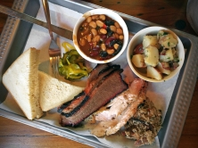 Three Meat'Cue Plate: Brisket, Pulled Pork, and Turkey w/Burnt End Beans and German Potato Salad