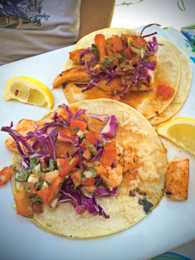 Haute Fish Tacos: All topped with cilantro, onion & fire roasted salsa