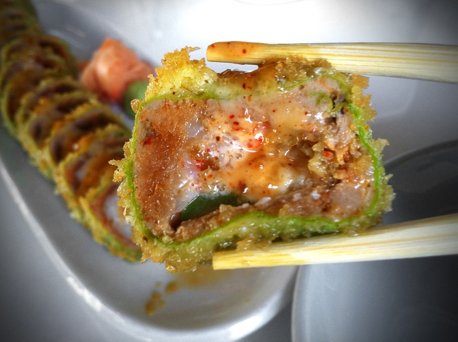 TransBestBite - no rice, minced spicy tuna, temp shrimp, kani, cream cheese, asparagus, soy wrapped and panko fried with plum, ponzu, and tsurai sauce