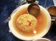 HOMEMADE CHICKEN SOUP: with 1 Fluffy Matzoh Ball, Super Sized 60oz. Bowl