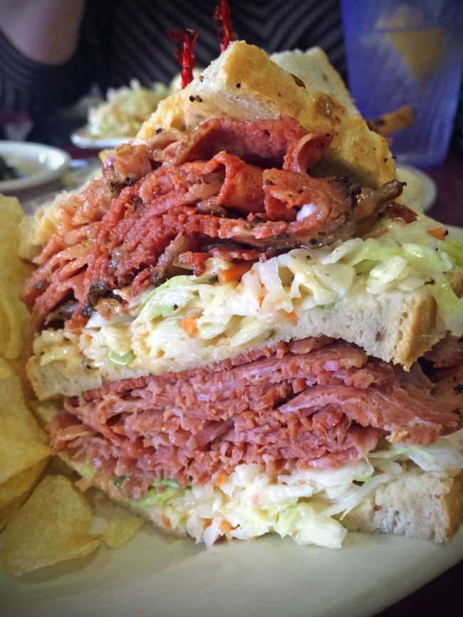 """ABC"": Corned Beef and Pastrami, Swiss Cheese with Russian Dressing and Cole Slaw"