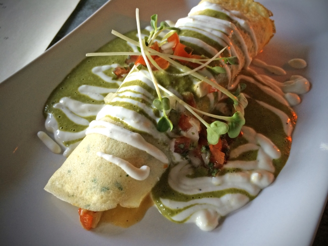 Lobster Soft Taco Masa Crepe – Sweet Potato – Poblano Cream
