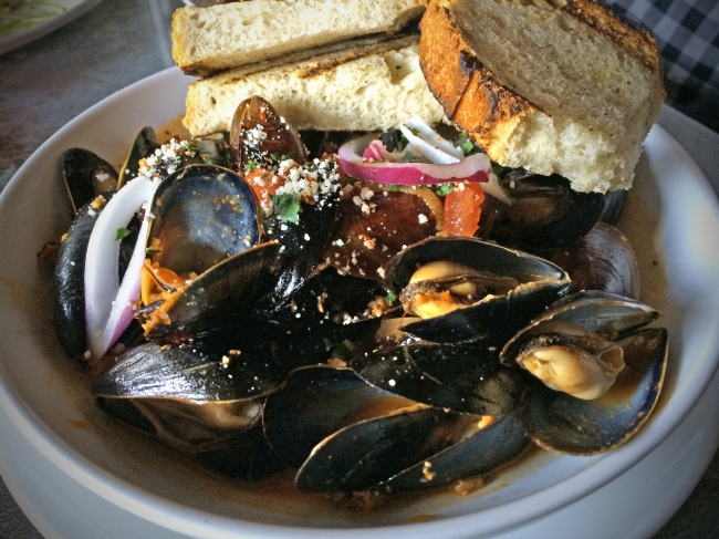 P.E.I. Mussels with Mexican Style Chorizo Fino Orange-Habanero Broth – Herbs – Grilled Bread