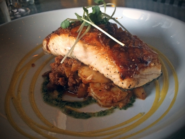 Ancho Chile Salmon with Mango Mojo Yukon Potato Shrimp Hash – Spanish Chorizo – Chimichurri
