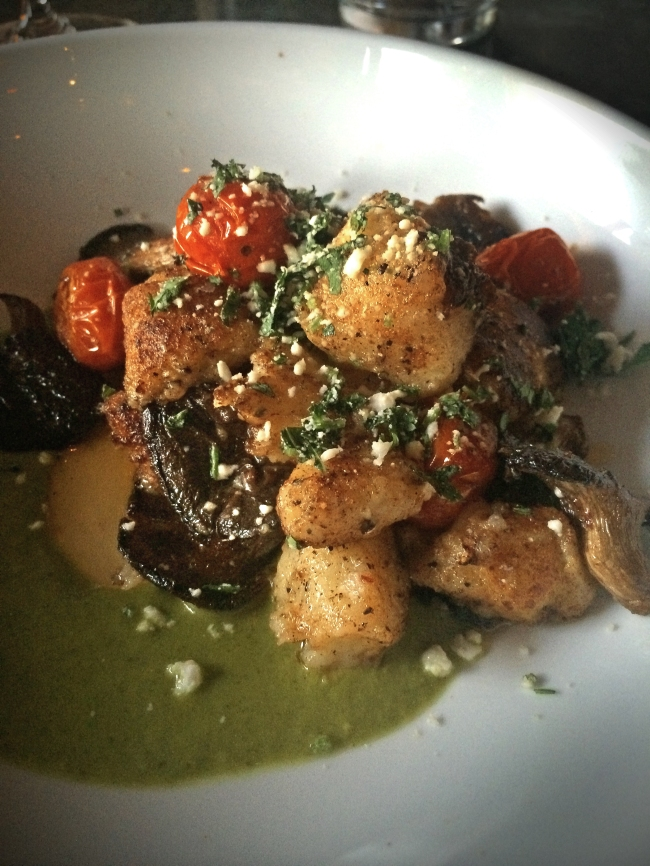 Lemon Gnocchi, Chimichurri Sauce, and Sundried Tomatoes