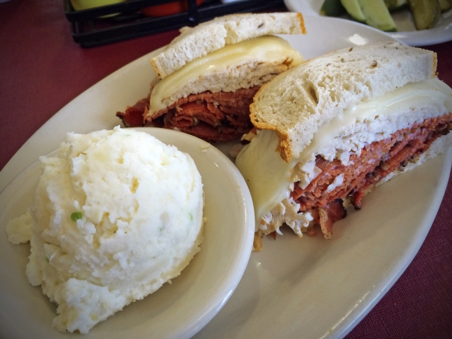 #2: Corned Beef, Turkey, Swiss, Russian Dressing, and Cole Slaw with Potato Salad