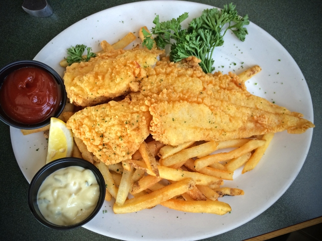 Fish & Chips Six ounces scrod, served with french fries