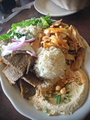 Combination Chicken Shwarma and Gyros Plate - Served with Feta cheese salad, hummos and rice.
