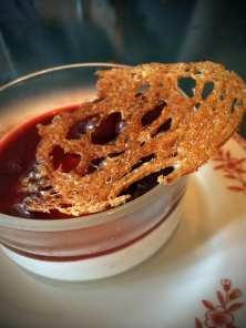 Buttermilk and black pepper panna cotta with cherries and caramelized bread