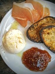 Buratta: prosciutto, fig jam, crostini