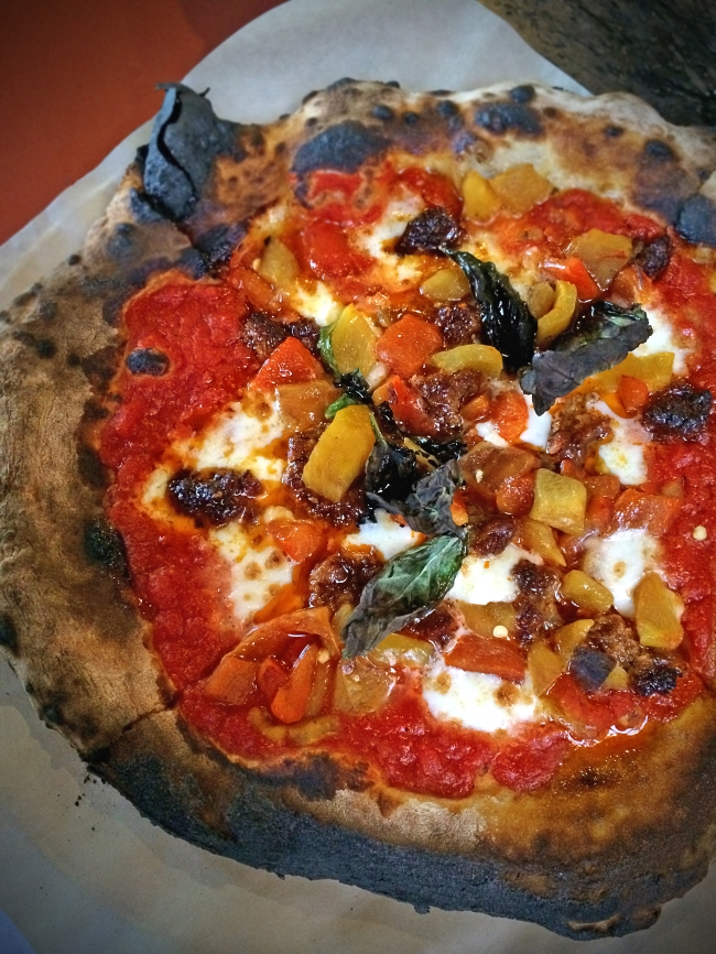 Nemesis: 'nduja, fior di latte, roasted peppers, basil