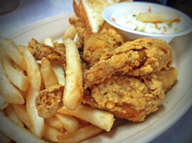 Frog Legs Cole slaw, french fries