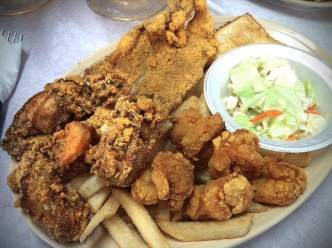 Seafood Platters Fish - shrimp - oysters, cole slaw, french fries