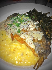 Trout & Grits – pan seared trout, organic grits & braised kale with bourbon mustard-dill sauce