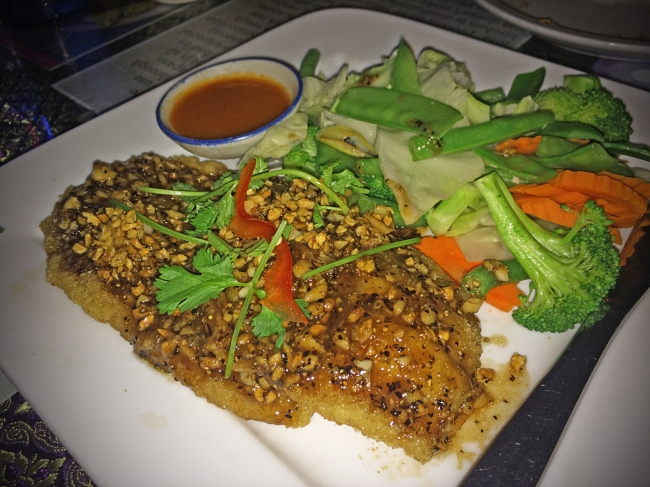 Plaa Thawt Mamuang: fried whole seabass smothered in spicy sweet chili mango sauce