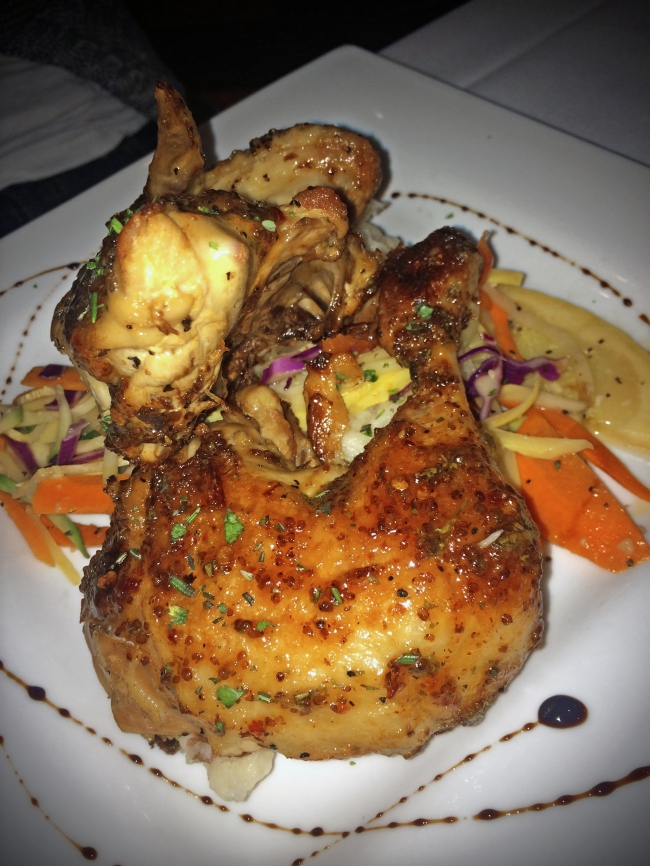 Chicken Two Ways: Confit leg and roasted breast with a chipotle honey glaze, mashed potatoes, vegetable du jour