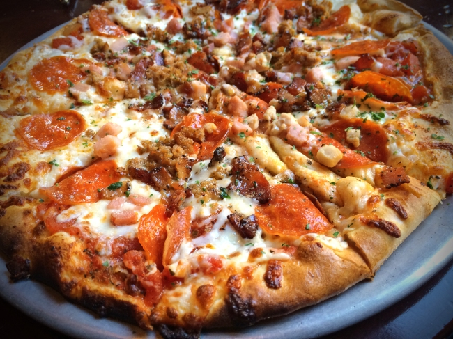 Saul Meat: Arrabiata sauce, maple pepper bacon, ham, pepperoni, Italian sausage.