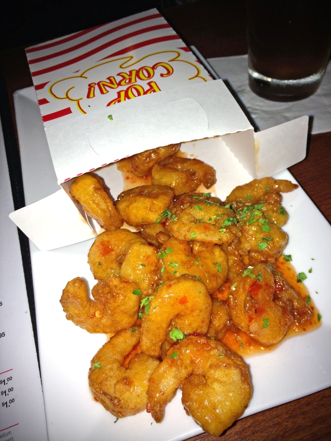 Sweet and Spicy Popcorn Shrimp: Movie theatre-style wild caught white shrimp with sweet and spicy glaze